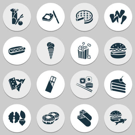 Snacks icons set with spring rolls, set of nuts, vegetarian kebab and other donut elements. Isolated vector illustration snacks icons.