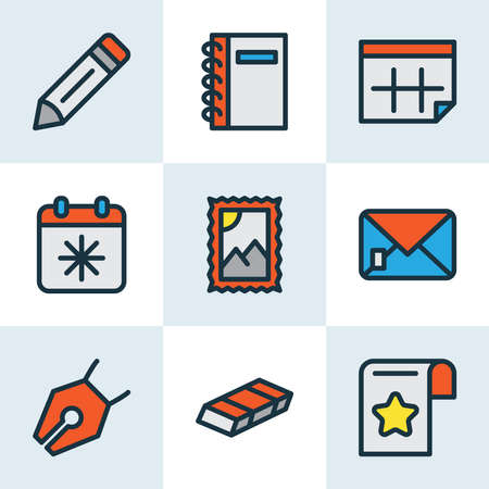 Stationary icons colored line set with calendar, eraser, vector pencil and other calendar elements. Isolated vector illustration stationary icons. Ilustrace