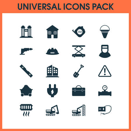 Industrial icons set with shovel, roulette, trolley and other manometer elements. Isolated vector illustration industrial icons.