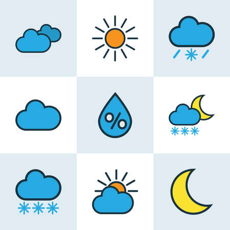 Air icons colored line set with cloudy day, solar, percent and other snowing elements. Isolated vector illustration air icons.