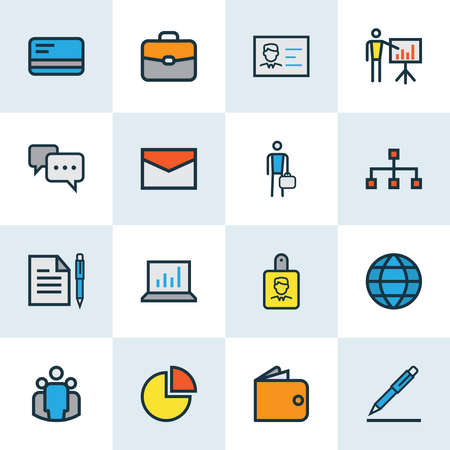 Job icons colored line set with pen, structure, identification document and other id badge elements. Isolated vector illustration job icons.