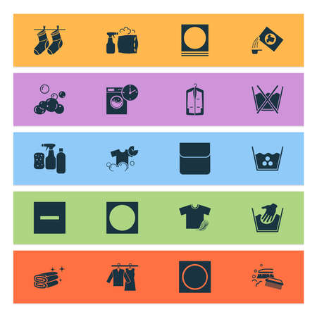 Laundry icons set with do not wash, cleaning products, pillow cleaning and other high temperature elements. Isolated vector illustration laundry icons.