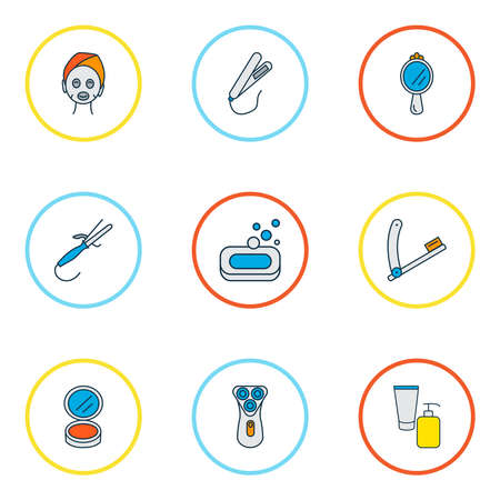 Hairdresser icons colored line set with soap, beauty product, styling iron and other peeper elements. Isolated vector illustration hairdresser icons. Ilustrace