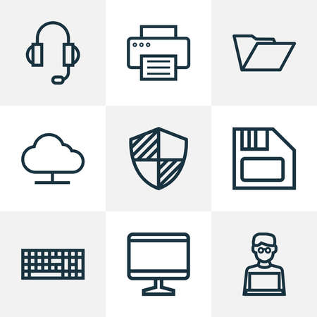 Computer icons line style set with online cloud, print, headphones and other earphones elements. Isolated vector illustration computer icons. Ilustrace