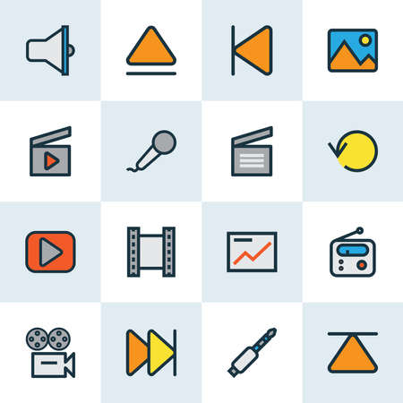Multimedia icons colored line set with movie clap, image, replay and other forward elements. Isolated vector illustration multimedia icons.