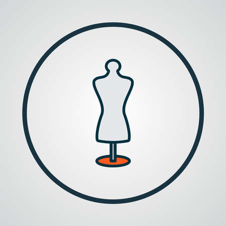 Tailors dummy icon colored line symbol. Premium quality isolated mannequin element in trendy style.