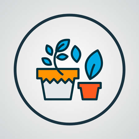 Plants in pot icon colored line symbol. Premium quality isolated flowerpot element in trendy style.