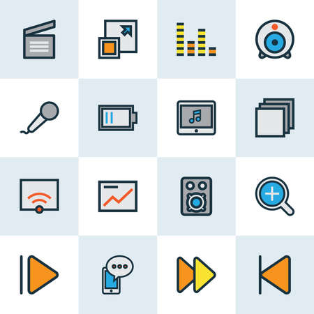 Multimedia icons colored line set with web cam, upward, low battery and other microphone elements. Isolated illustration multimedia icons.