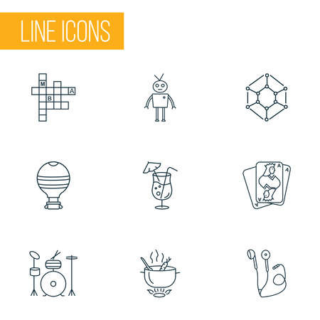 Entertainment icons line style set with cocktail, crossword, robots and other martini elements. Isolated illustration entertainment icons.