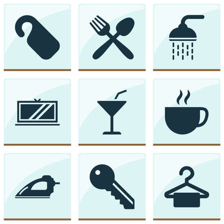 Hotel icons set with bathroom, hanger, cocktail and other martini elements. Isolated illustration hotel icons.
