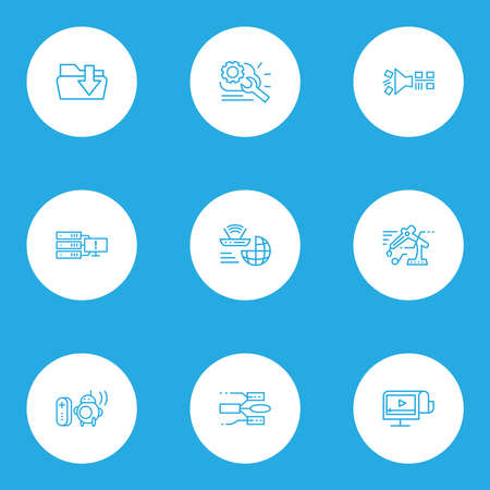 Information technology icons line style set with cloud management, personal droid, data structure and other robot elements. Isolated vector illustration information technology icons.
