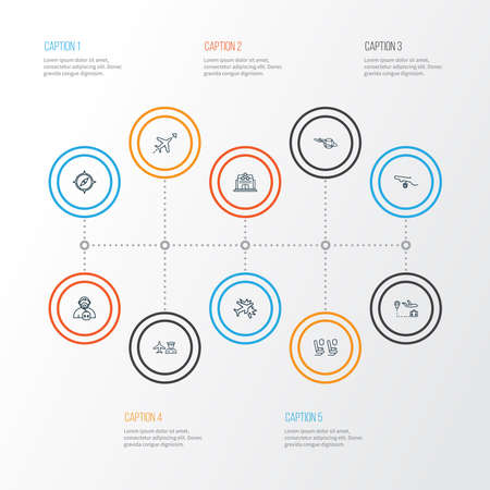 Airport icons line style set with flight direction, airport worker, plane around the world and other international aviation elements. Isolated vector illustration airport icons.