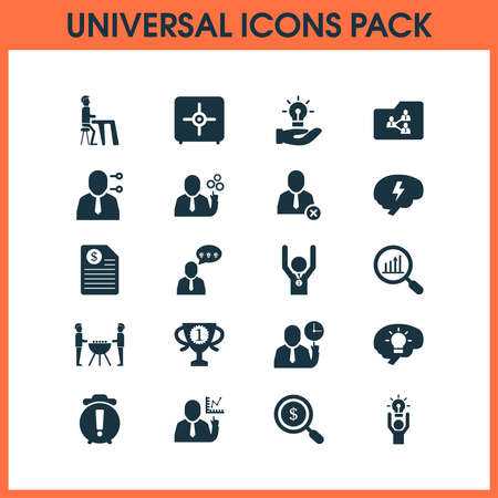 Job icons set with winner, team analytics, team time and other personal skill elements. Isolated vector illustration job icons.