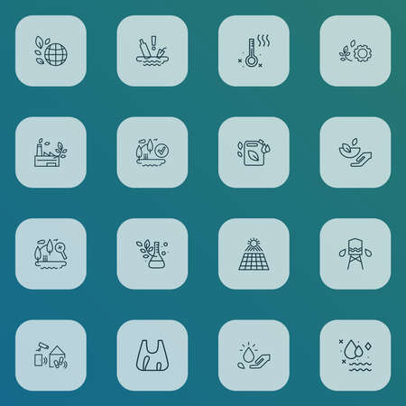 Ecology icons line style set with eia approved, eco fuel, water pollution and other checked elements. Isolated vector illustration ecology icons. Ilustração