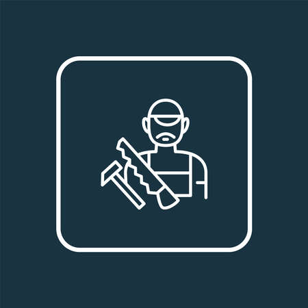 Carpenter icon line symbol. Premium quality isolated craftsman element in trendy style. Ilustração