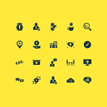 Work icons set with meeting room, comments, brainstorm process and other pinpoint elements. Isolated vector illustration work icons. Ilustração