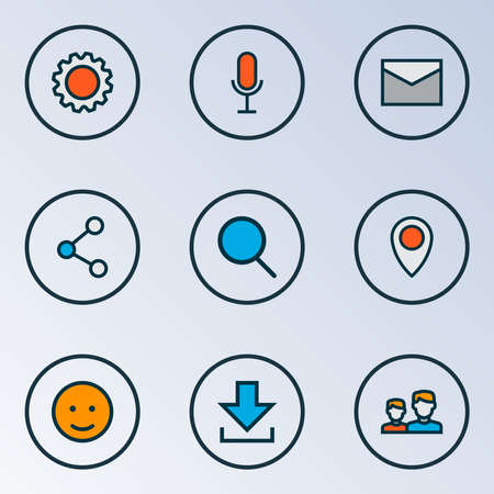 Social icons colored line set with voice chat, emoji, message and other letter elements. Isolated vector illustration social icons.