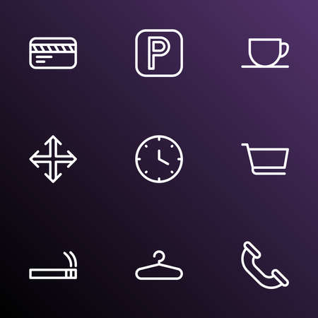 Public icons line style set with call, card, clock and other phone elements. Isolated vector illustration public icons.