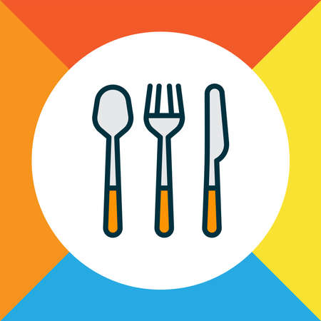Spoon fork knife icon colored line symbol. Premium quality isolated cutlery element in trendy style.