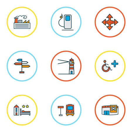 City icons colored line set with navigation sign, gas station, disabled sign and other signpost elements. Isolated vector illustration city icons.