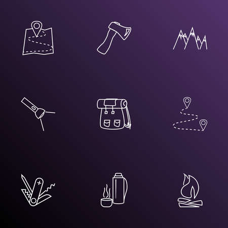 Activity icons line style set with axe, swiss knife, map and other hatchet elements. Isolated vector illustration activity icons.