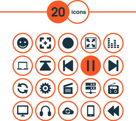 Media icons set with top, widen, sync and other stop elements. Isolated vector illustration media icons. Ilustração