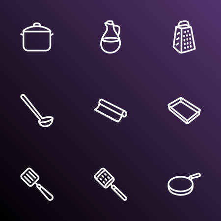 Kitchenware icons line style set with baking sheet, tin foil, olive oil and other dishware elements. Isolated vector illustration kitchenware icons.