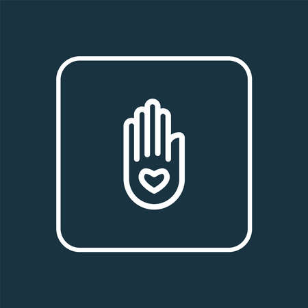 Peace hand icon line symbol. Premium quality isolated palm element in trendy style.