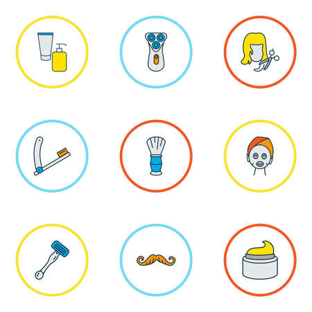 Salon icons colored line set with cream, razor blade, face mask and other mustache elements. Isolated vector illustration salon icons. Ilustração