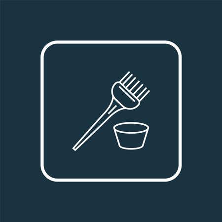 Hair dye brush icon line symbol. Premium quality isolated bristle element in trendy style.