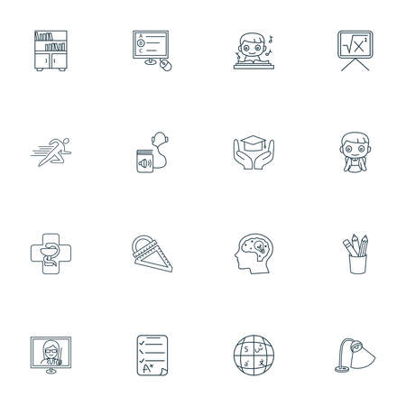 Education icons line style set with learning support, pencil, exam paper and other pupil elements. Isolated vector illustration education icons.