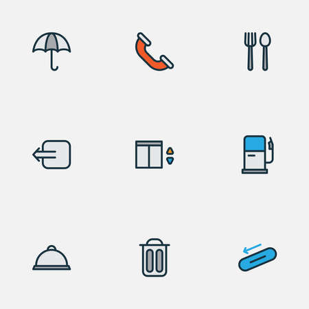 Navigation icons colored line set with escalator, call, gas station and other exit elements. Isolated vector illustration navigation icons.
