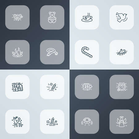 Year icons line style set with celebration, scarf, petard and other electricity elements. Isolated vector illustration year icons.