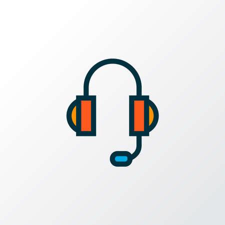 Headphones icon colored line symbol. Premium quality isolated earphone element in trendy style. Ilustração