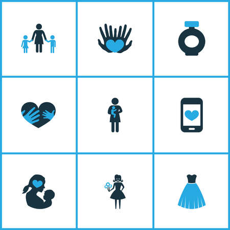 Mothers day icon colored design concept. Set of 9 such elements as palms, cellphone and woman. Beautiful symbols for mother, heart and hand. Ilustração