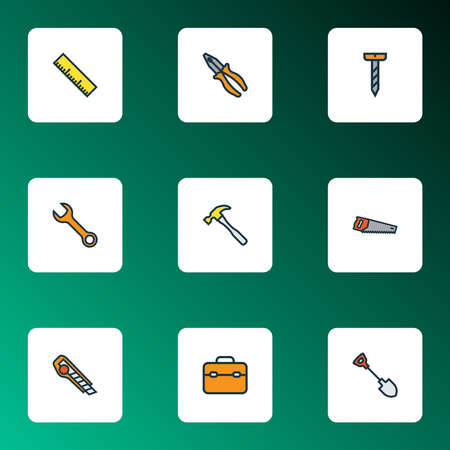 Tools icons colored line set with pliers, wrench, ruler and other carpentry elements. Isolated vector illustration tools icons.