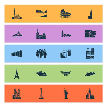 Landmarks icons set with pyramids of giza, statue of liberty, terracota warriors and other reptile elements. Isolated vector illustration landmarks icons.