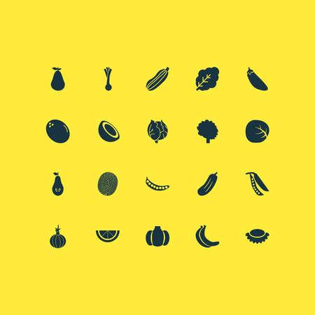 Vegetable icons set with white cabbage, legume, onion and other garlic elements. Isolated vector illustration vegetable icons. Vektoros illusztráció