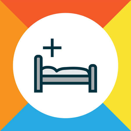 Clinic icon colored line symbol. Premium quality isolated hospital bed element in trendy style. Ilustração