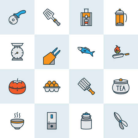 Cook icons colored line set with pizza knife, cooking, fish and other weight elements. Isolated vector illustration cook icons.
