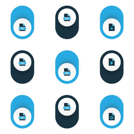 File icons colored set with file rar, file zip, favorite file and other backup elements. Isolated vector illustration file icons.
