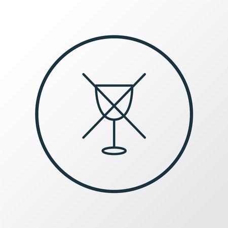 No alcohol icon line symbol. Premium quality isolated wine forbidden element in trendy style. Banco de Imagens