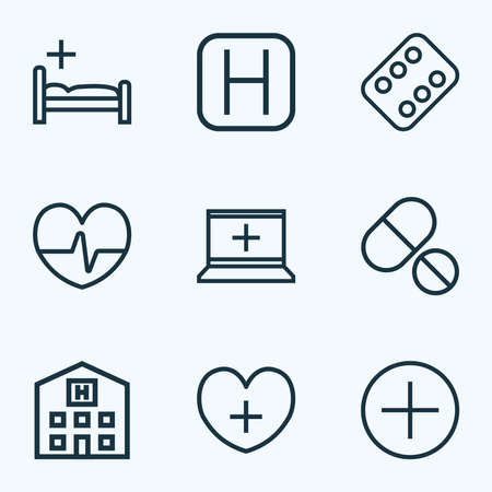 Medicine icons line style set with heart, clinic, hospital and other bed elements. Isolated illustration medicine icons.