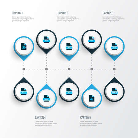 Types icons colored set with file png, file audio, file epub and other music elements. Isolated illustration types icons. Banco de Imagens
