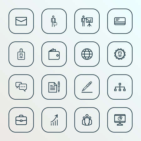 Job icons line style set with earth, hierarchy, contract and other bank card elements. Isolated illustration job icons. Banco de Imagens
