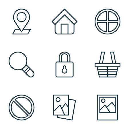 Network icons set with scenery image, access denied, picture and other landscape photo elements. Isolated illustration network icons. Banco de Imagens