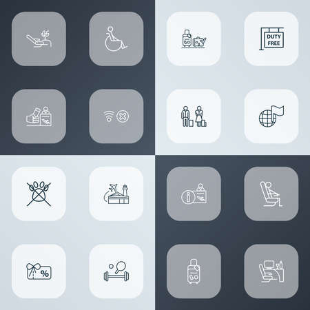 Traveling icons line style set with business class, registration board, disabled and other fitness elements. Isolated illustration traveling icons. Banco de Imagens