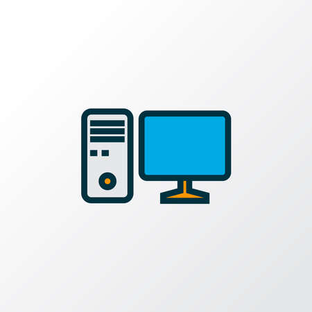 PC icon colored line symbol. Premium quality isolated workstation element in trendy style. Banco de Imagens