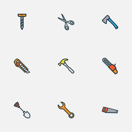 Tools icons colored line set with saw, wrench, shovel and other cutter elements. Isolated illustration tools icons.