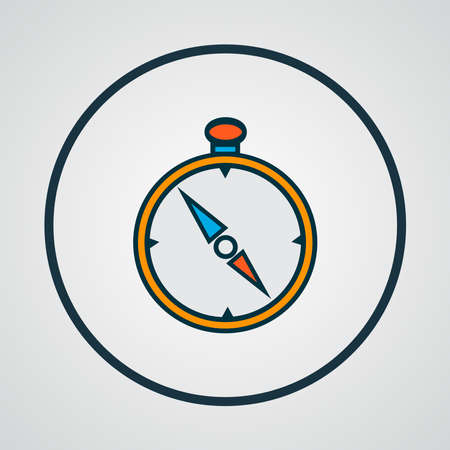 Compass icon colored line symbol. Premium quality isolated navigation element in trendy style. Banco de Imagens